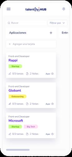 Pagina web de Talently versión mobile